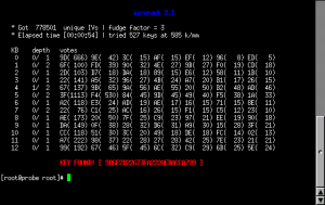 Screenshot of aircrack successfully finding a WEP key
