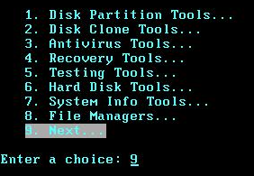 A command-line menu for a bootable utility cd
