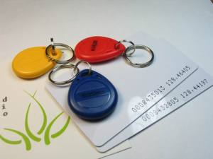 RFID keyfobs and cards showing their ID numbers